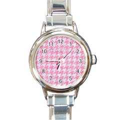 Houndstooth1 White Marble & Pink Watercolor Round Italian Charm Watch by trendistuff