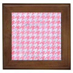 Houndstooth1 White Marble & Pink Watercolor Framed Tiles