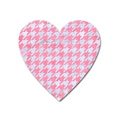 Houndstooth1 White Marble & Pink Watercolor Heart Magnet