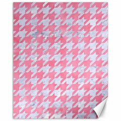 Houndstooth1 White Marble & Pink Watercolor Canvas 11  X 14