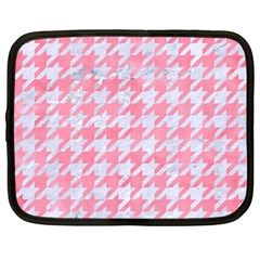 Houndstooth1 White Marble & Pink Watercolor Netbook Case (large)