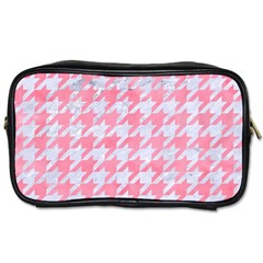 Houndstooth1 White Marble & Pink Watercolor Toiletries Bags