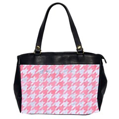 Houndstooth1 White Marble & Pink Watercolor Office Handbags (2 Sides)