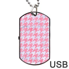 Houndstooth1 White Marble & Pink Watercolor Dog Tag Usb Flash (two Sides)