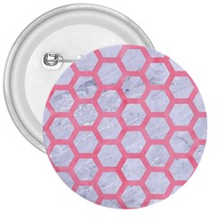 Hexagon2 White Marble & Pink Watercolor (r) 3  Buttons by trendistuff
