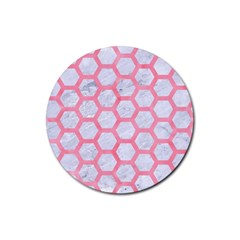 Hexagon2 White Marble & Pink Watercolor (r) Rubber Round Coaster (4 Pack)