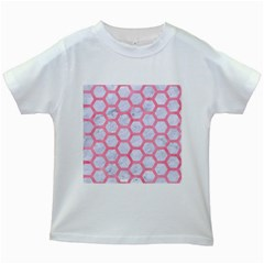 Hexagon2 White Marble & Pink Watercolor (r) Kids White T Shirts