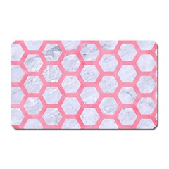 Hexagon2 White Marble & Pink Watercolor (r) Magnet (rectangular) by trendistuff