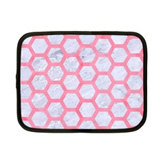 Hexagon2 White Marble & Pink Watercolor (r) Netbook Case (small)