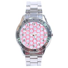 Hexagon2 White Marble & Pink Watercolor (r) Stainless Steel Analogue Watch by trendistuff