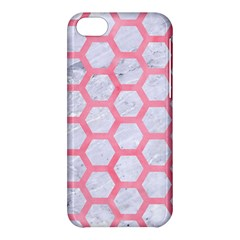 Hexagon2 White Marble & Pink Watercolor (r) Apple Iphone 5c Hardshell Case
