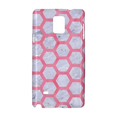 Hexagon2 White Marble & Pink Watercolor (r) Samsung Galaxy Note 4 Hardshell Case