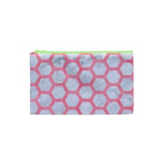 Hexagon2 White Marble & Pink Watercolor (r) Cosmetic Bag (xs)