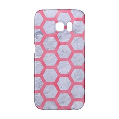 Hexagon2 White Marble & Pink Watercolor (r) Galaxy S6 Edge