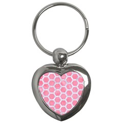 Hexagon2 White Marble & Pink Watercolor Key Chains (heart)