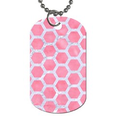 Hexagon2 White Marble & Pink Watercolor Dog Tag (two Sides)
