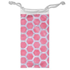 Hexagon2 White Marble & Pink Watercolor Jewelry Bags