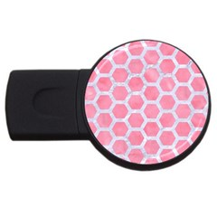 Hexagon2 White Marble & Pink Watercolor Usb Flash Drive Round (4 Gb) by trendistuff