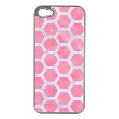 Hexagon2 White Marble & Pink Watercolor Apple Iphone 5 Case (silver)