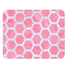 Hexagon2 White Marble & Pink Watercolor Double Sided Flano Blanket (large)