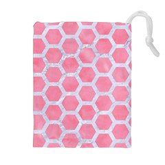 Hexagon2 White Marble & Pink Watercolor Drawstring Pouches (extra Large)