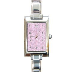 Hexagon1 White Marble & Pink Watercolor (r) Rectangle Italian Charm Watch