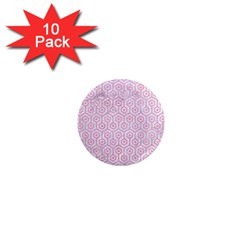 Hexagon1 White Marble & Pink Watercolor (r) 1  Mini Magnet (10 Pack)