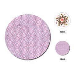 Hexagon1 White Marble & Pink Watercolor (r) Playing Cards (round)