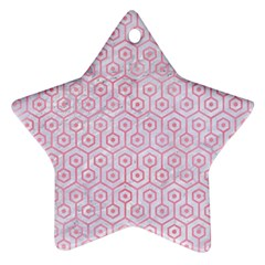 Hexagon1 White Marble & Pink Watercolor (r) Star Ornament (two Sides)
