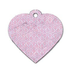 Hexagon1 White Marble & Pink Watercolor (r) Dog Tag Heart (two Sides)