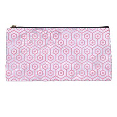 Hexagon1 White Marble & Pink Watercolor (r) Pencil Cases by trendistuff
