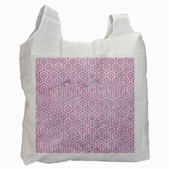 Hexagon1 White Marble & Pink Watercolor (r) Recycle Bag (one Side)