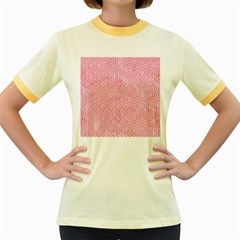 Hexagon1 White Marble & Pink Watercolor Women s Fitted Ringer T Shirts