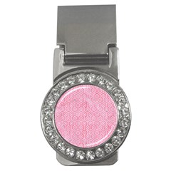 Hexagon1 White Marble & Pink Watercolor Money Clips (cz)