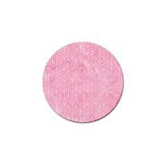 Hexagon1 White Marble & Pink Watercolor Golf Ball Marker by trendistuff