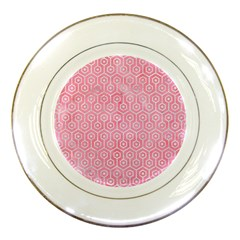 Hexagon1 White Marble & Pink Watercolor Porcelain Plates