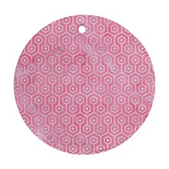 Hexagon1 White Marble & Pink Watercolor Round Ornament (two Sides)