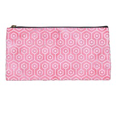 Hexagon1 White Marble & Pink Watercolor Pencil Cases by trendistuff