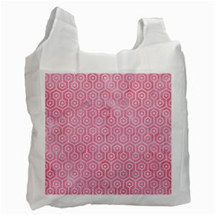 Hexagon1 White Marble & Pink Watercolor Recycle Bag (one Side)