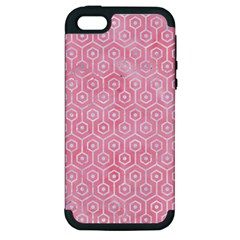 Hexagon1 White Marble & Pink Watercolor Apple Iphone 5 Hardshell Case (pc+silicone)