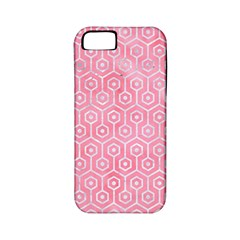 Hexagon1 White Marble & Pink Watercolor Apple Iphone 5 Classic Hardshell Case (pc+silicone)