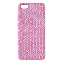Hexagon1 White Marble & Pink Watercolor Apple Iphone 5 Premium Hardshell Case