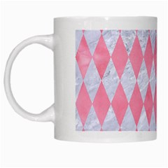 Diamond1 White Marble & Pink Watercolor White Mugs