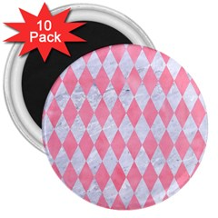 Diamond1 White Marble & Pink Watercolor 3  Magnets (10 Pack)