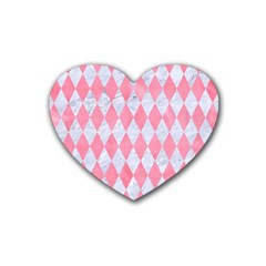 Diamond1 White Marble & Pink Watercolor Heart Coaster (4 Pack)