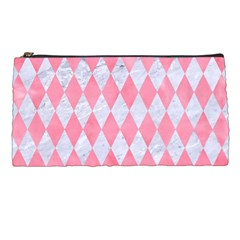 Diamond1 White Marble & Pink Watercolor Pencil Cases by trendistuff
