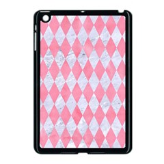 Diamond1 White Marble & Pink Watercolor Apple Ipad Mini Case (black)
