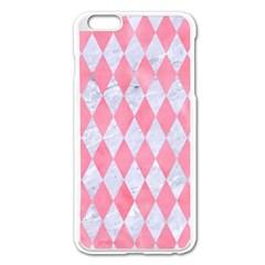Diamond1 White Marble & Pink Watercolor Apple Iphone 6 Plus/6s Plus Enamel White Case