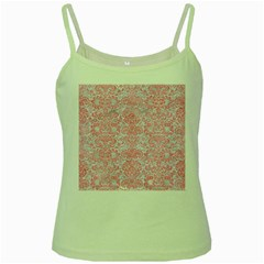 Damask2 White Marble & Pink Watercolor (r) Green Spaghetti Tank