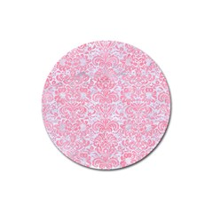 Damask2 White Marble & Pink Watercolor (r) Magnet 3  (round)